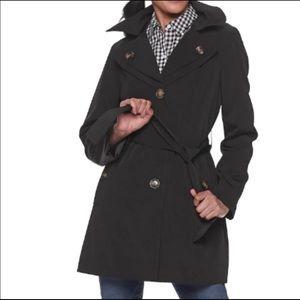 London Fog black short trench coat size PL NWT